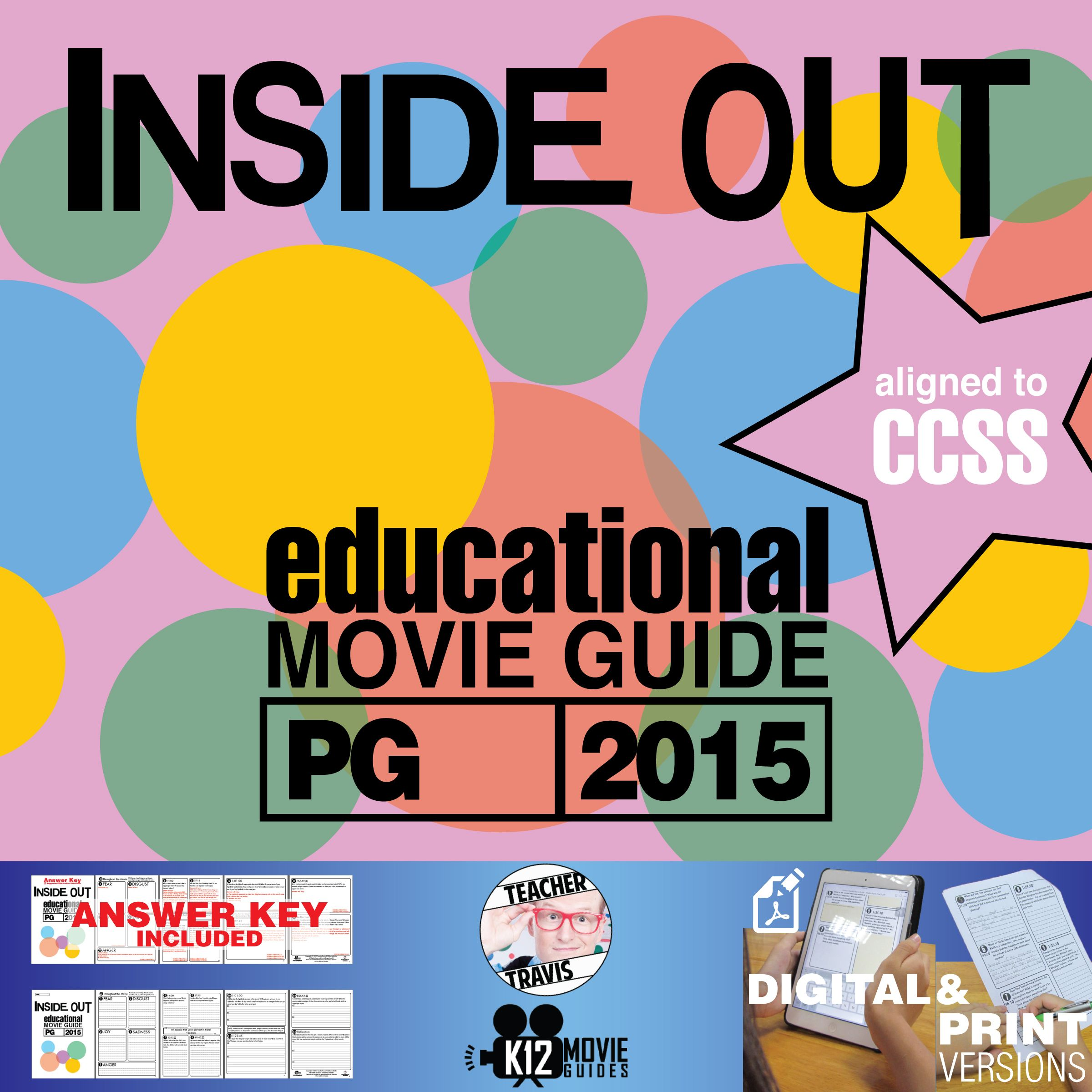Inside Out Movie Guide Questions Worksheet Pg