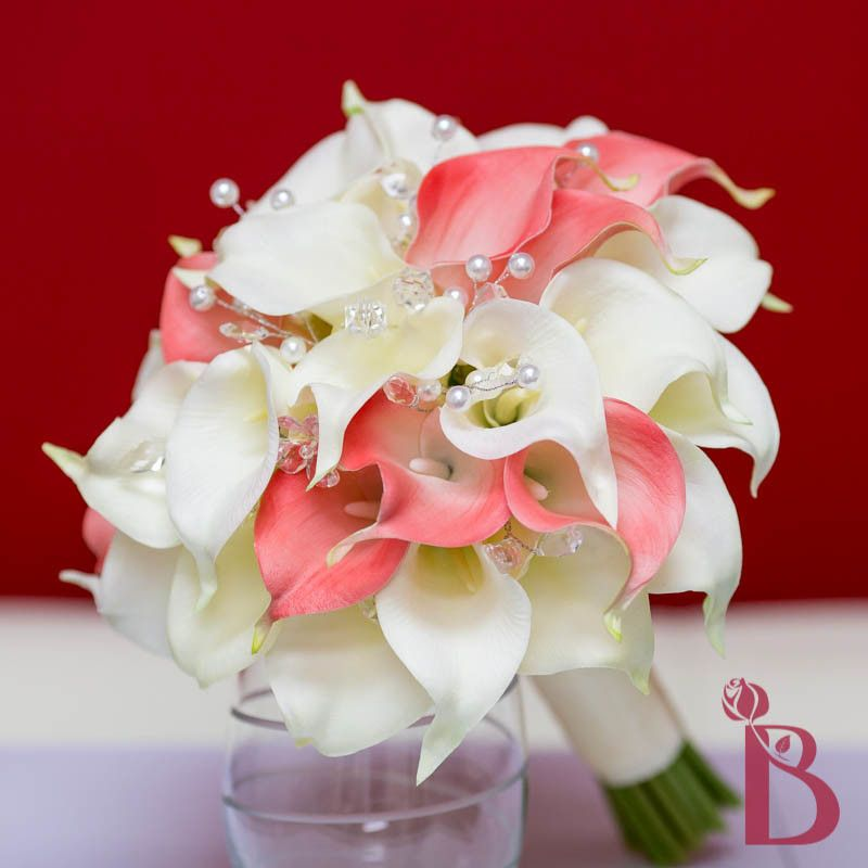 Wedding Bouquet Coral Cream Real Touch Calla Lily Silk Rose: Coral Cream Salmon Calla Lily Real Touch Wedding Bouquet
