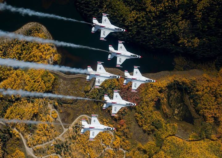 United States Air Force Thunderbirds fly over Telluride Colorado.