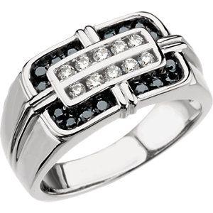 67347 / 14kt White / 3/4 CT TW / Polished / MEN'S BLACK & WHITE DIAMOND RI
