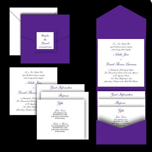 Cadbury Purple Pocketfold Pocket Fold Wedding Invitations Stationery Faire Part Mariage Original Faire Part Mariage Mariage Original
