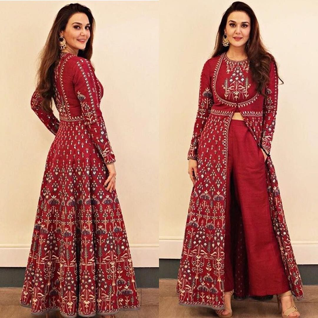 Preity Zinta is a vision in this red embroidered ensemble by Anita Dongre