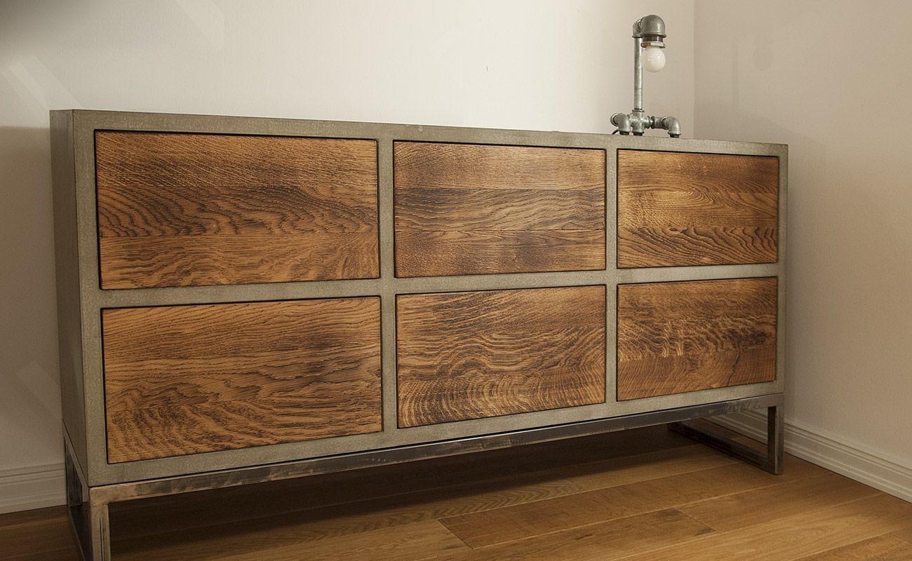 Beton Sideboard Mit Gebrannten Schubladen Kuche Loft