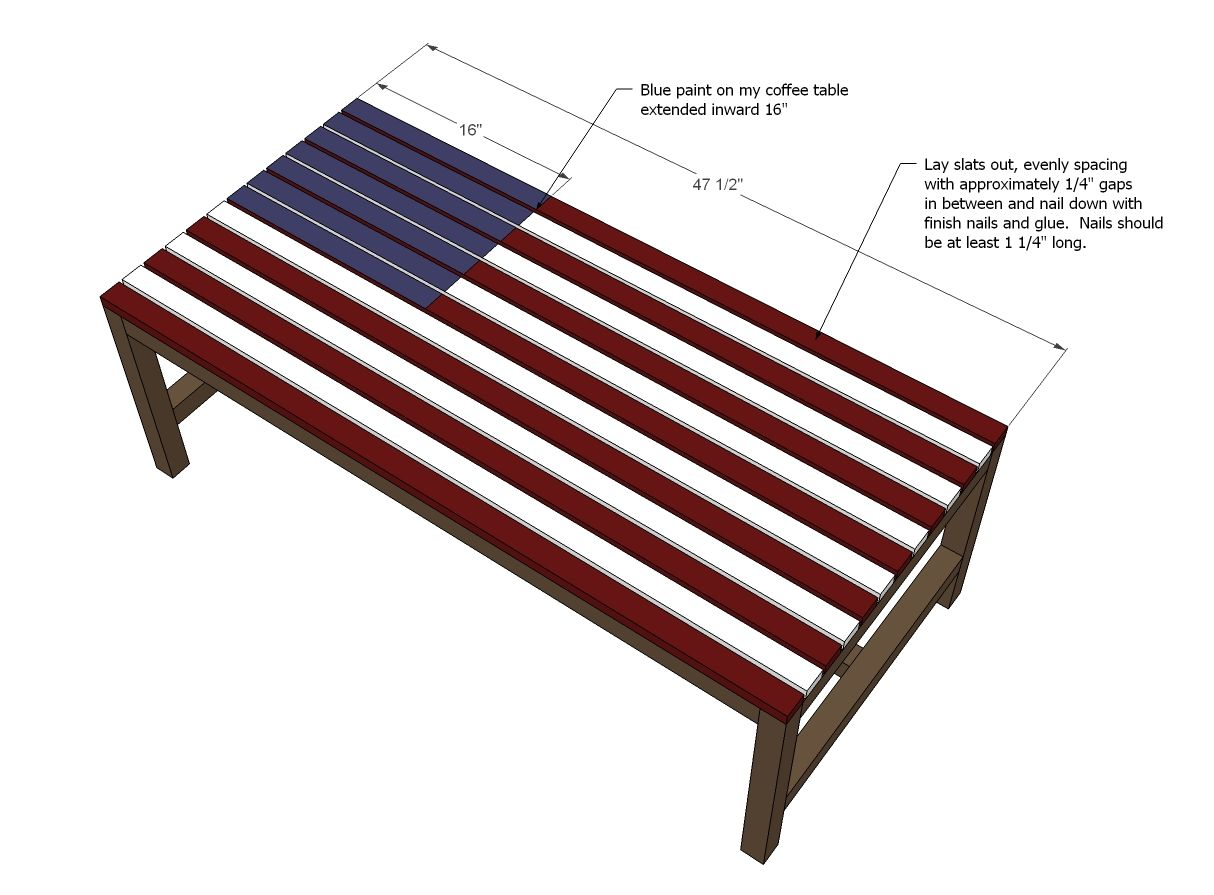 Flag inspired outdoor wood coffee table coffee table