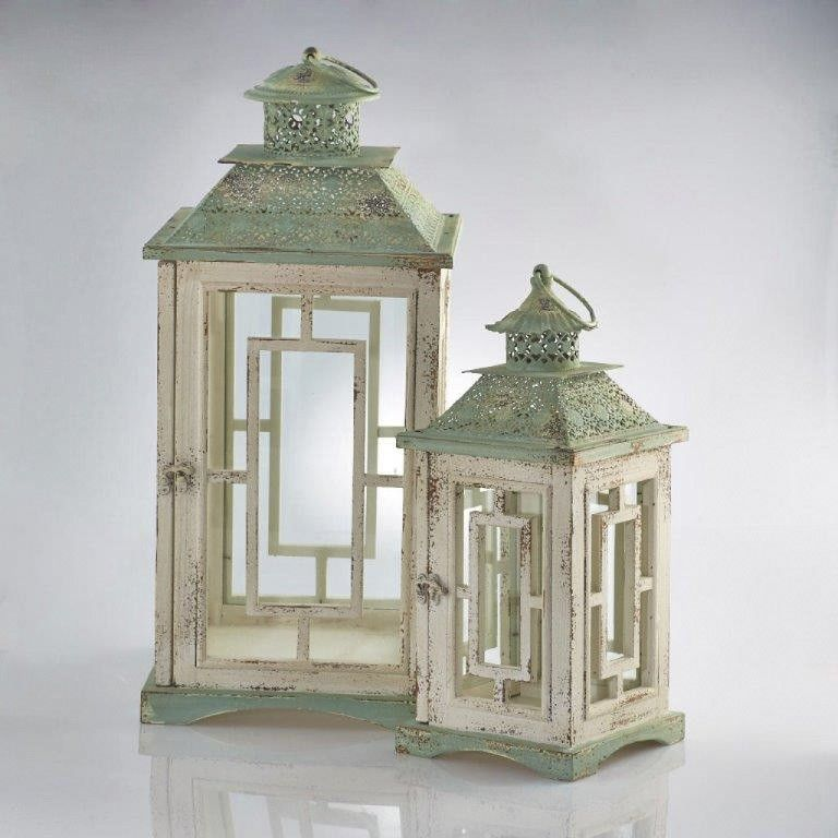 Lanterne in legno bianche e verdi a noleggio per for Lanterne in legno