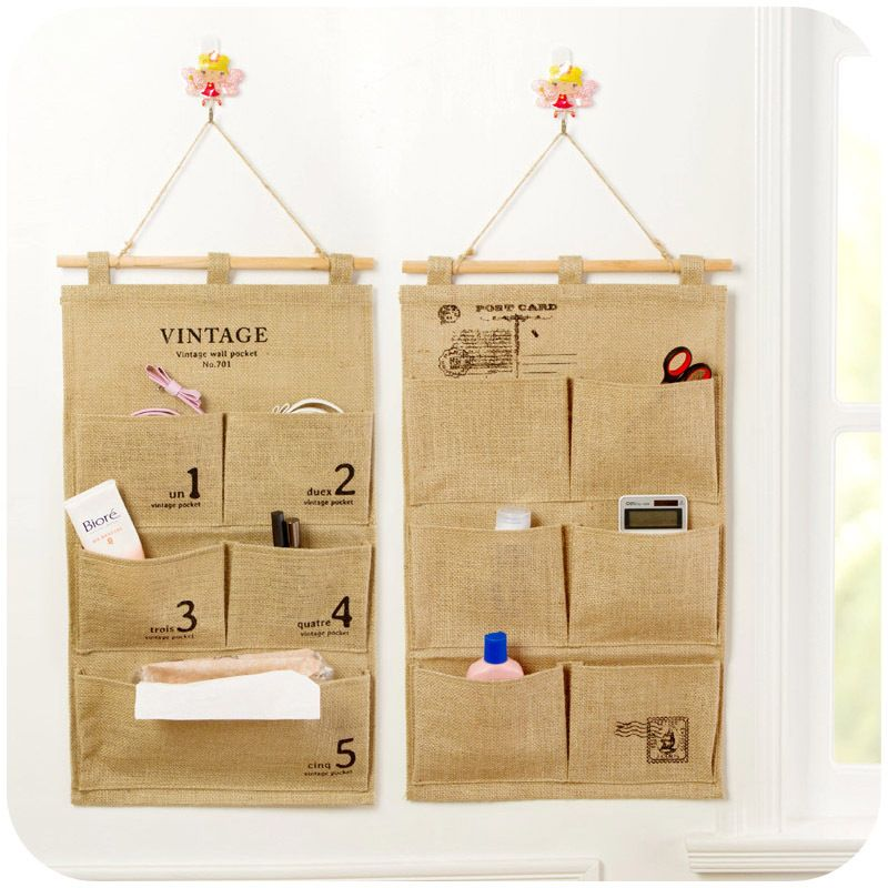 Vanzlife Wall Hanging Storage Bag Cloth Linen Back Door Storage Pockets  Small Objects Pouches #Affiliate