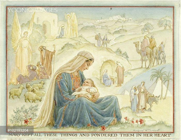 Yooniq images - 'The Christmas Story' Madonna and Child with scenes from the Christmas story. Christmas card.