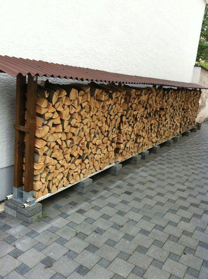 Richtig Gelagertes Brennholz Brennholz Brennholz Lagerung Und Hinterhof