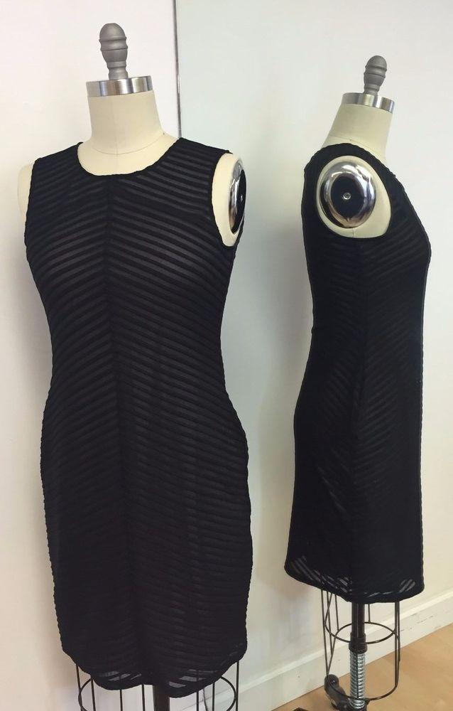 NWT Calvin Klein Black Sleeveless Chevron Design Dress Size M #CalvinKlein #Fitted