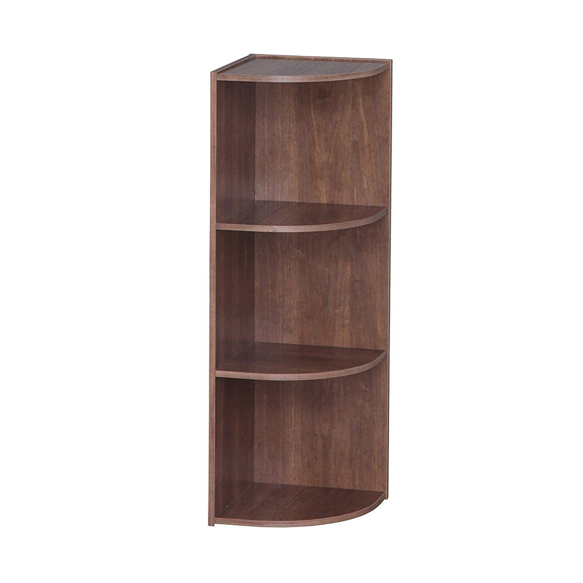 Iris 3 Tier Corner Curved Shelf Organizer Brown Shelves Freestanding Shelving Units Shelf Organization