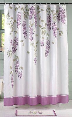 Captivating Purple Floral Wisteria Flower Bathroom Shower Curtain Rug Set Decor In Home  U0026 Garden,Bath