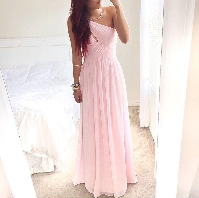 Pink One Shoulder Chiffon Long Prom Party Evening Formal Bridesmaid Dress Custom