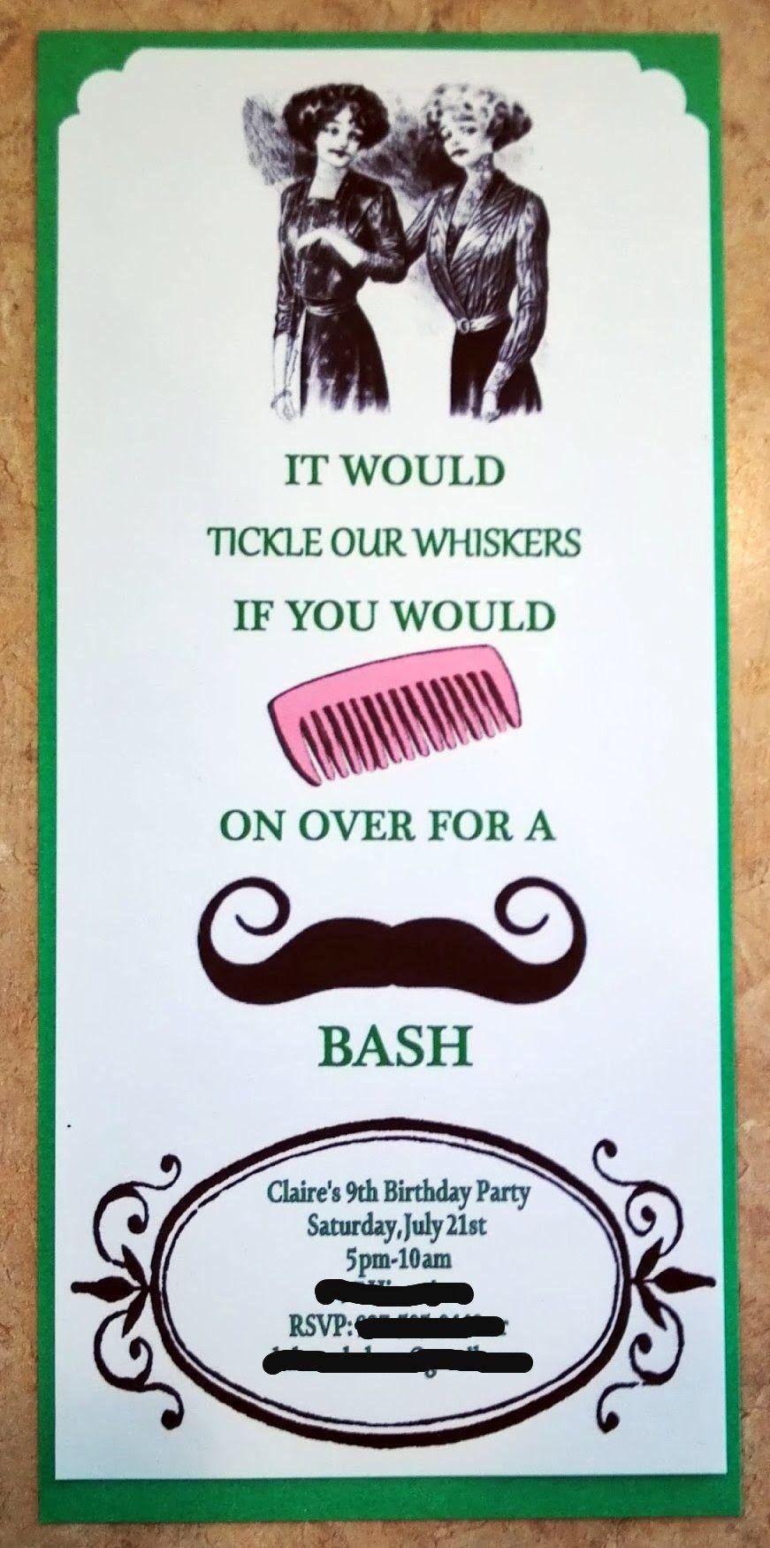 Mustache Birthday Party Invitation   Mustache Boy\'s Birthday Party ...