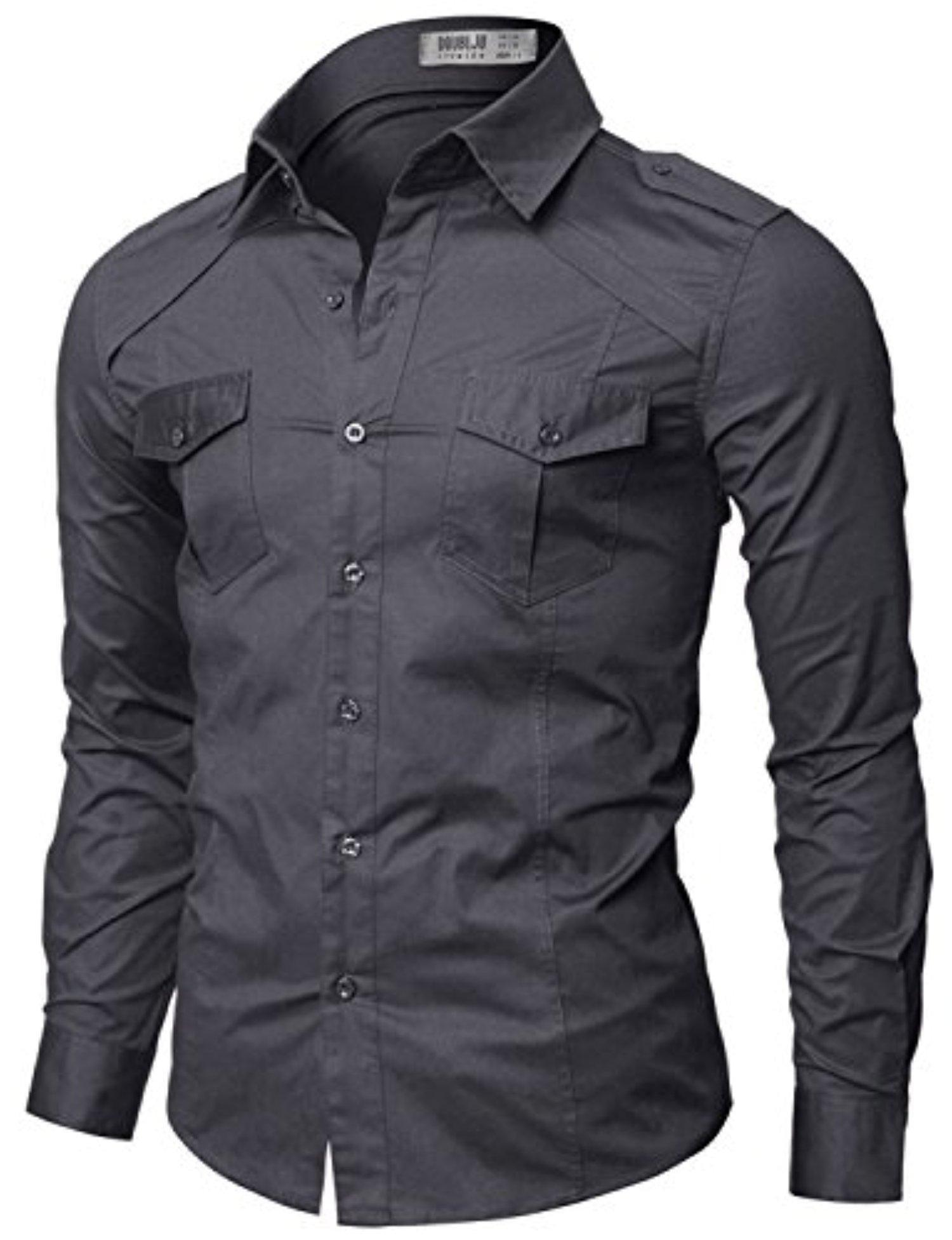 Doublju Polo Assn Mens Classy Button-Down Long Sleeve Plus Size ...