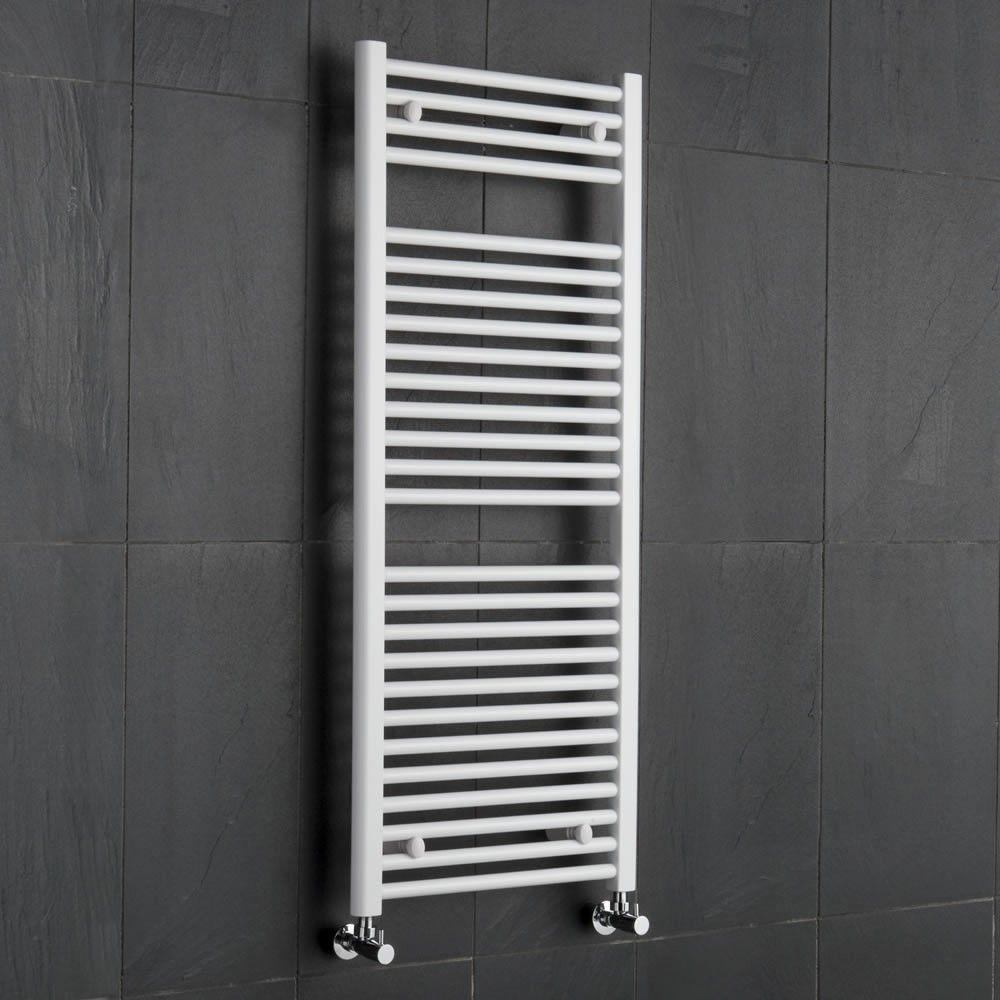 White Flat Ladder Style Bathroom Heated