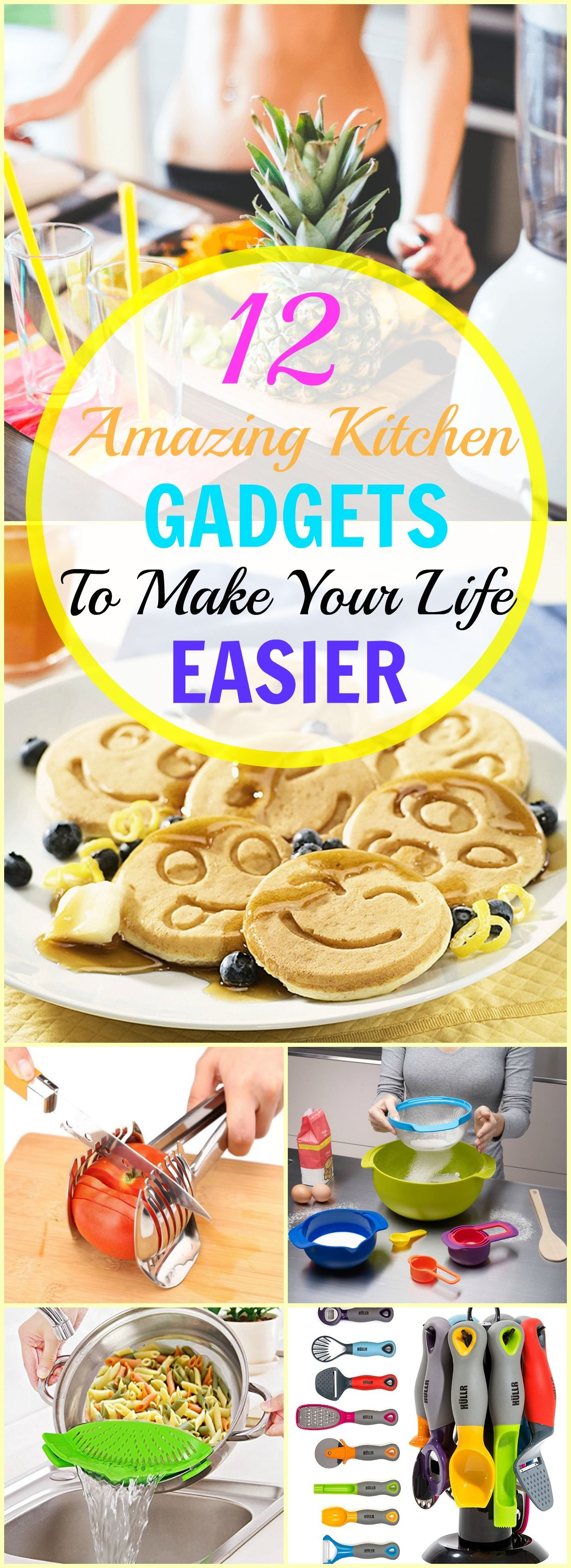 12 Amazing Kitchen Gadgets To Make Your Life Easier. These awesome kitchen tools are perfect! Great way to get the job done in the kitchen while being fancy and creative.: