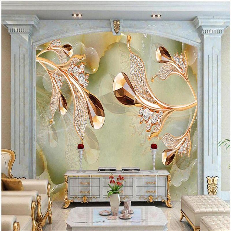 Home Decor Wallpaper for Living Room Gold Crystal Jewelry Diamond - goldene tapete modern design