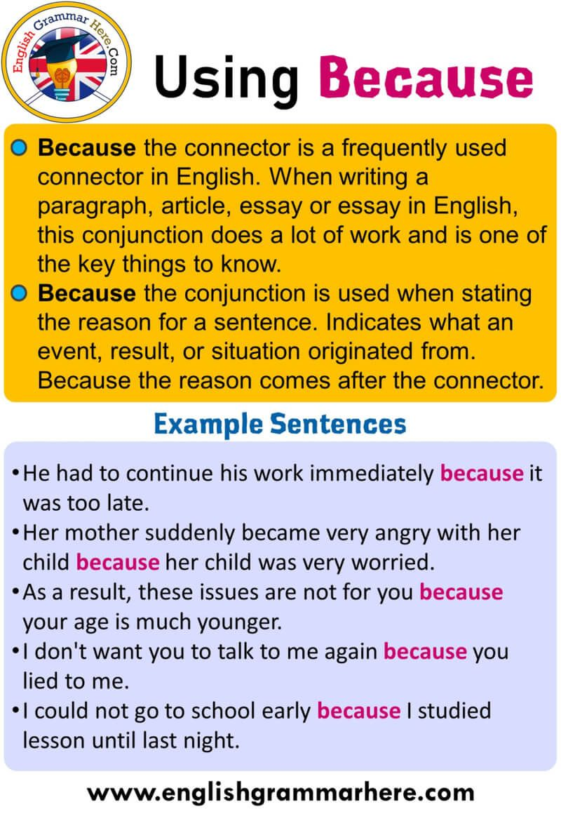 How to Use Because and Example Sentences; Table of