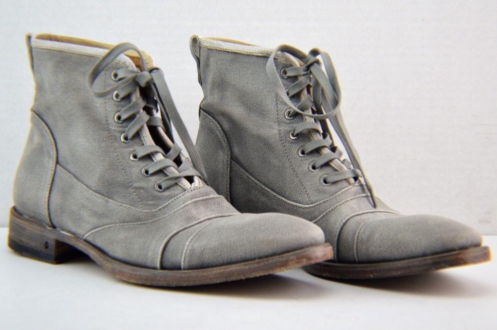 f4456e043ed NWOB John Varvatos Fleetwood Gray Canvas Lace Up Boots SZ US 10.5 EU ...