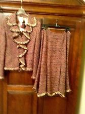 ❤️Stunning St John Couture multicolor knit suit ruffle/fringe jacket /skirt 12L1