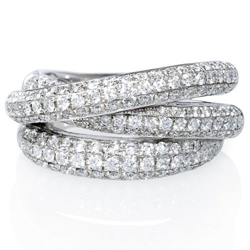 Pave Set Russian Diamond Wedding Ring