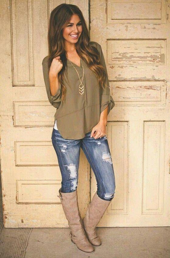 Brown Plain Irregular V-neck Long Sleeve Fashion Blouse