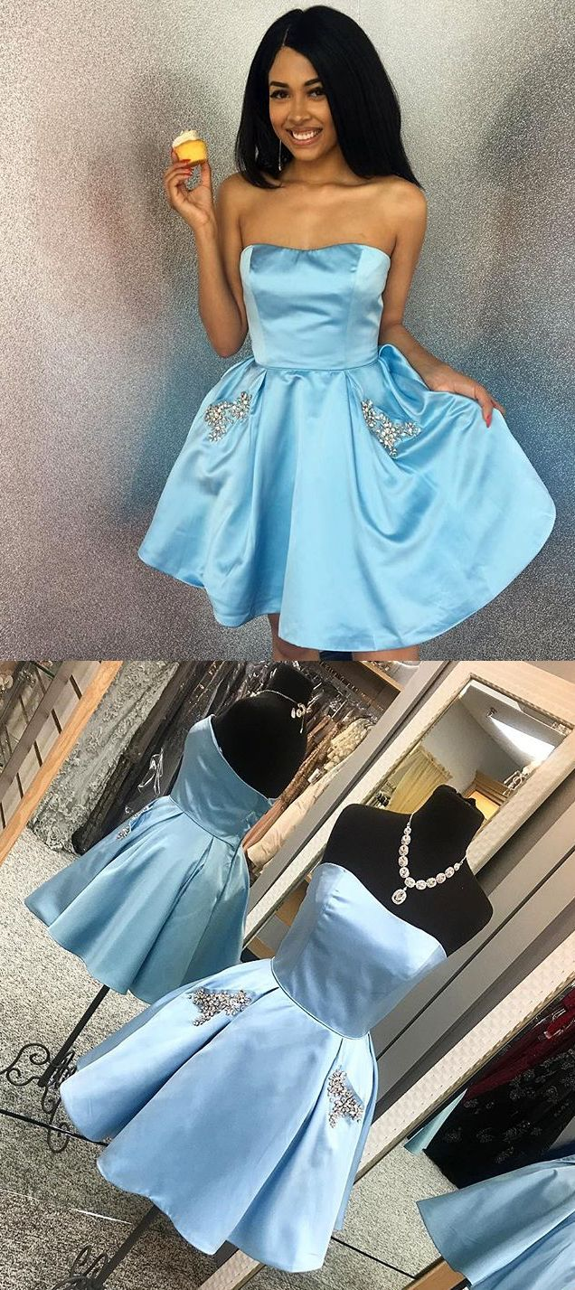 Gorgeous Strapless Sweetheart Mini Prom Homecoming Dress Sky Blue ...