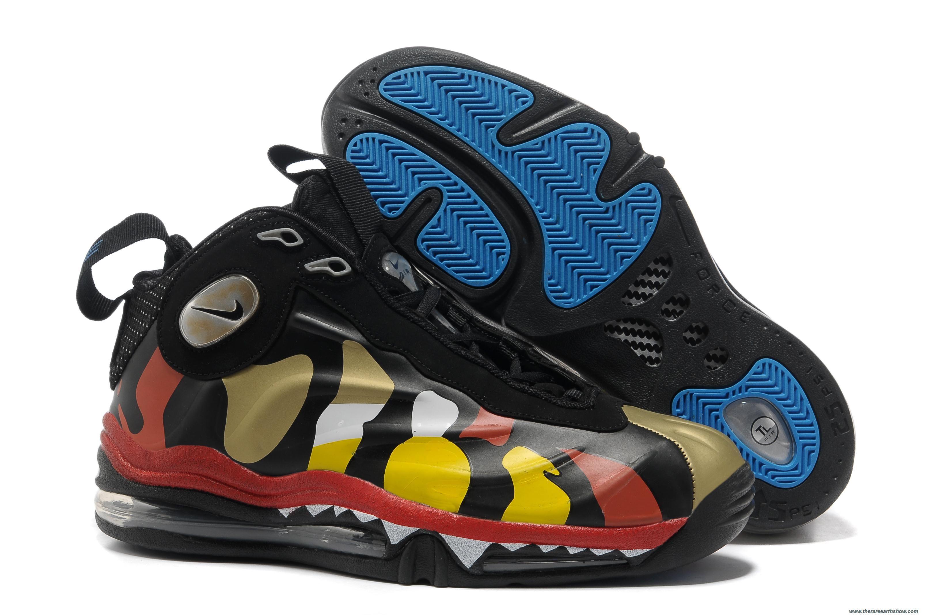 new concept 3cb2b 73ab1 Cheap Jurassic Nike Air Total Foamposite Max Rainbow Black Yellow Red