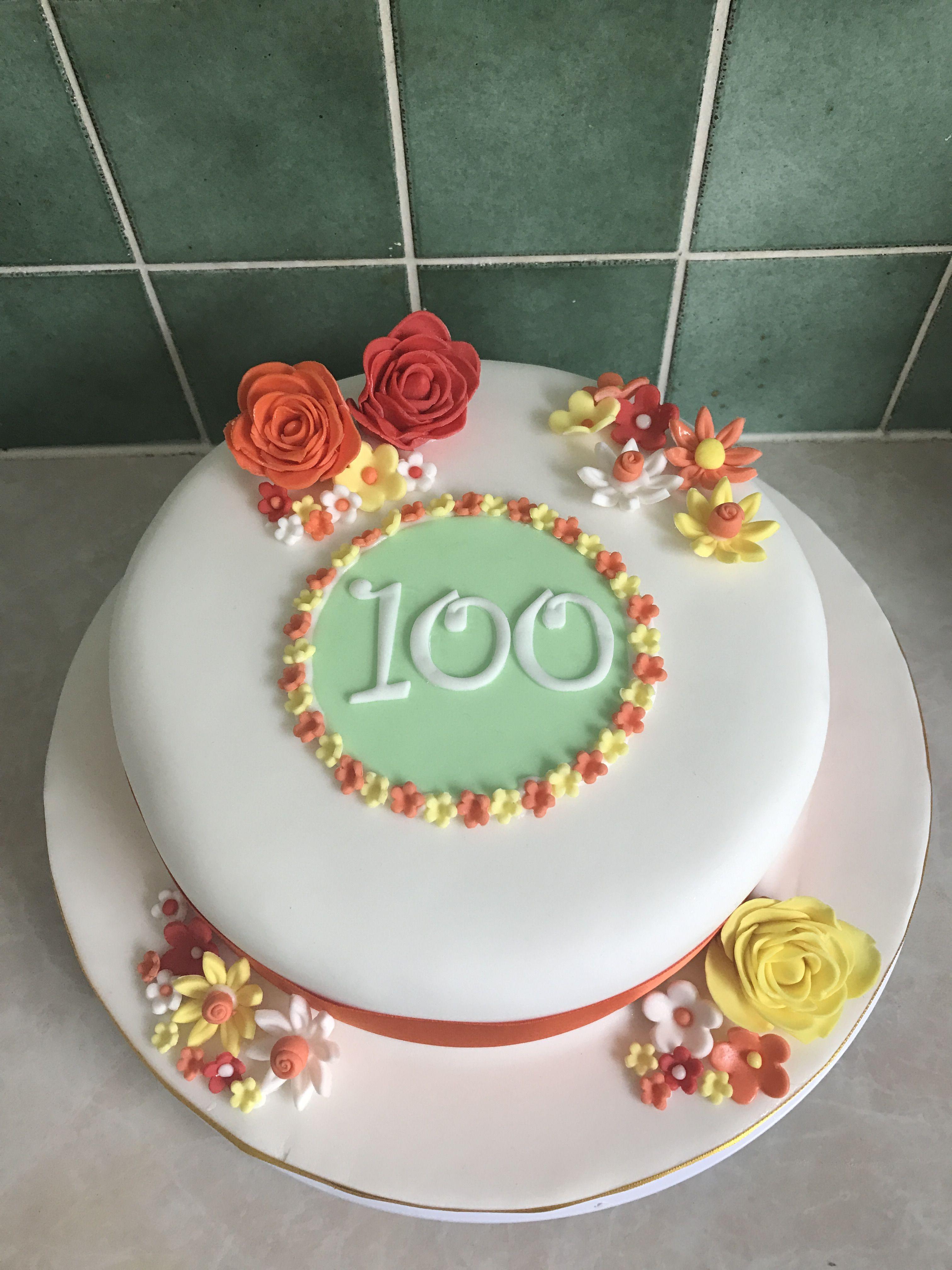 Simple Flower Birthday Cake For 100th Birthday My Cake Creations