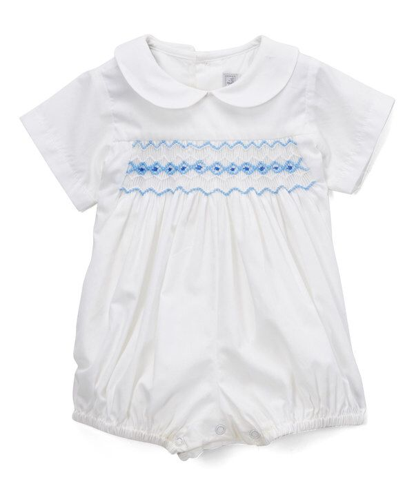 e93ea1bb537a Look at this Fantaisie Bebes White   Blue Smocked Bubble Romper - Infant on   zulily today!