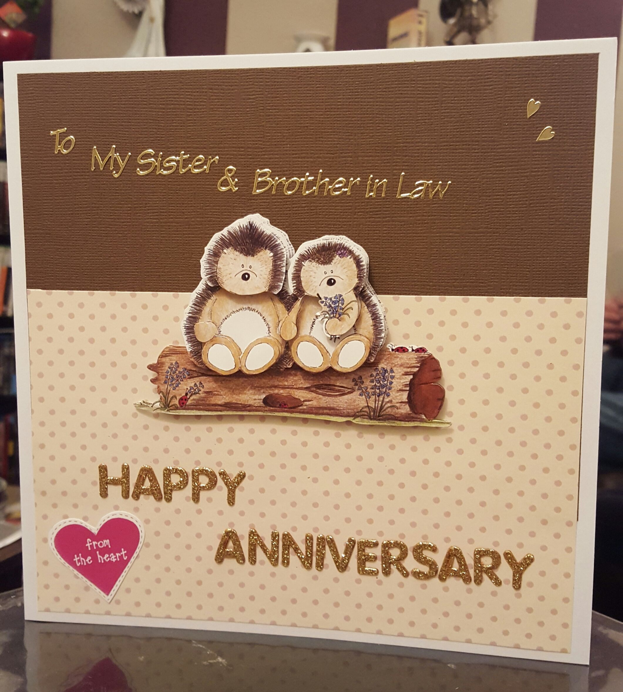 Hedgehog wedding anniversary card sister brother in