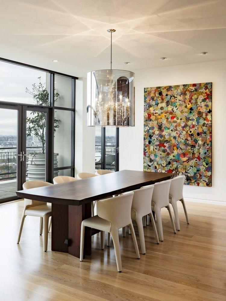 Tableau abstrait moderne pour d corer la salle manger - Deco murale salle a manger ...