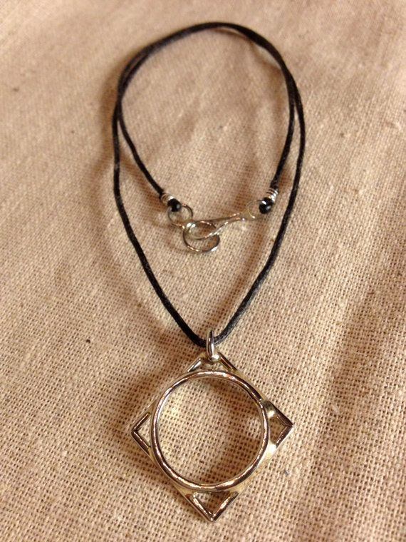 Gorgeous!  Created/Recycled from stainless steel bicycle partsDiamond circle pendant by Jeffwalkerjewelry on Etsy, $48.00