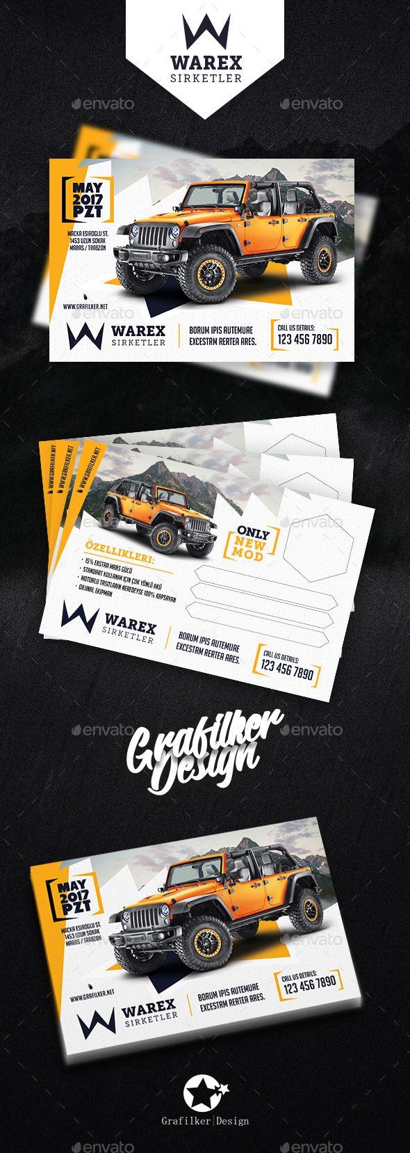 Car Sales Postcard Templates | Diseño corporativo, Material ...