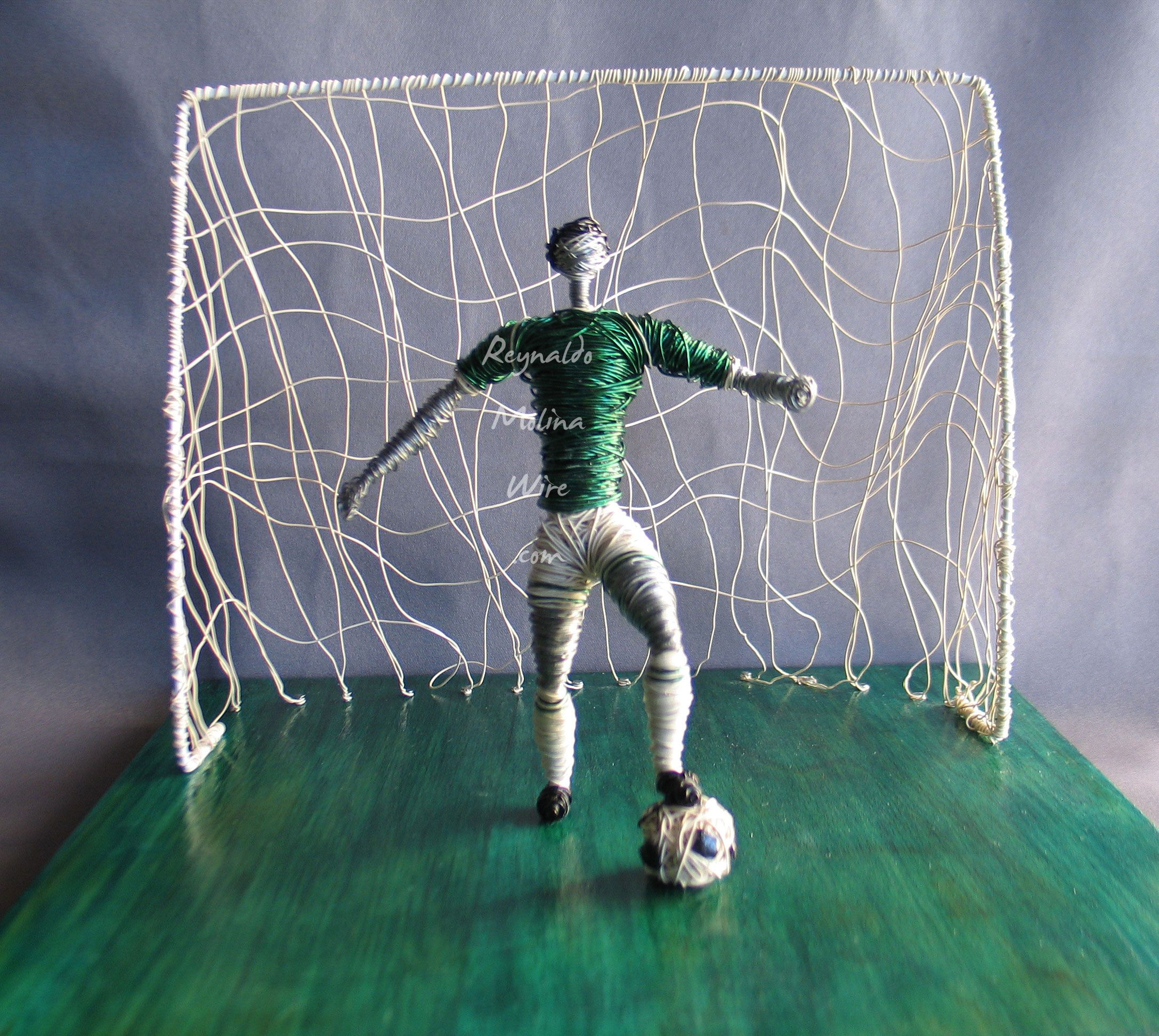 Wire Sculpture Of Soccer Player