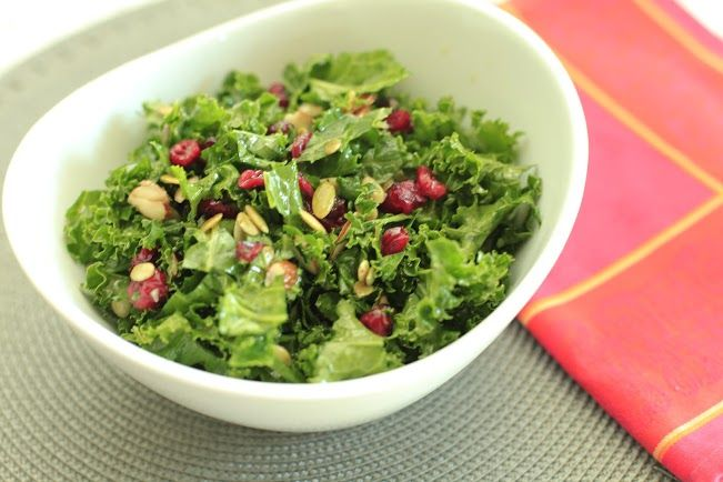 recipe: kale salad with cranberries and pumpkin seeds [11]