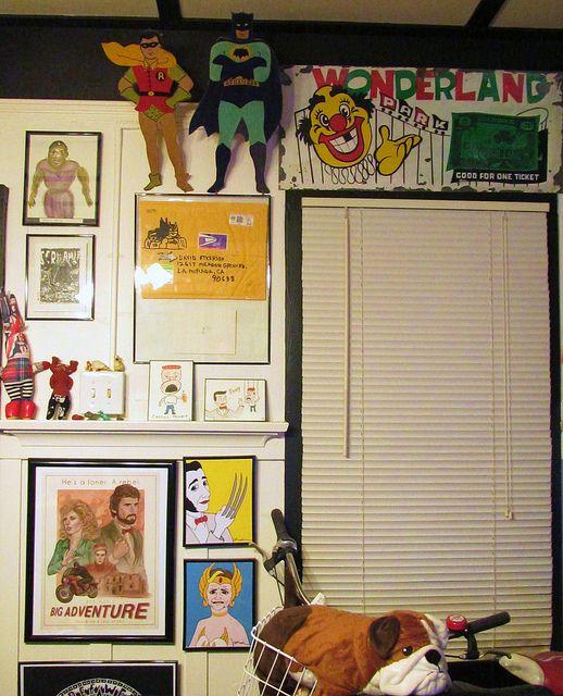 Parlour room back wall decor - Batman & Robin, Vintage Wonderland sign, Gary Panter Screamers art, Pee-Wee Herman art, Tomata Du Plenty Bessie Smith Art by GennieGoose's Page, via Flickr