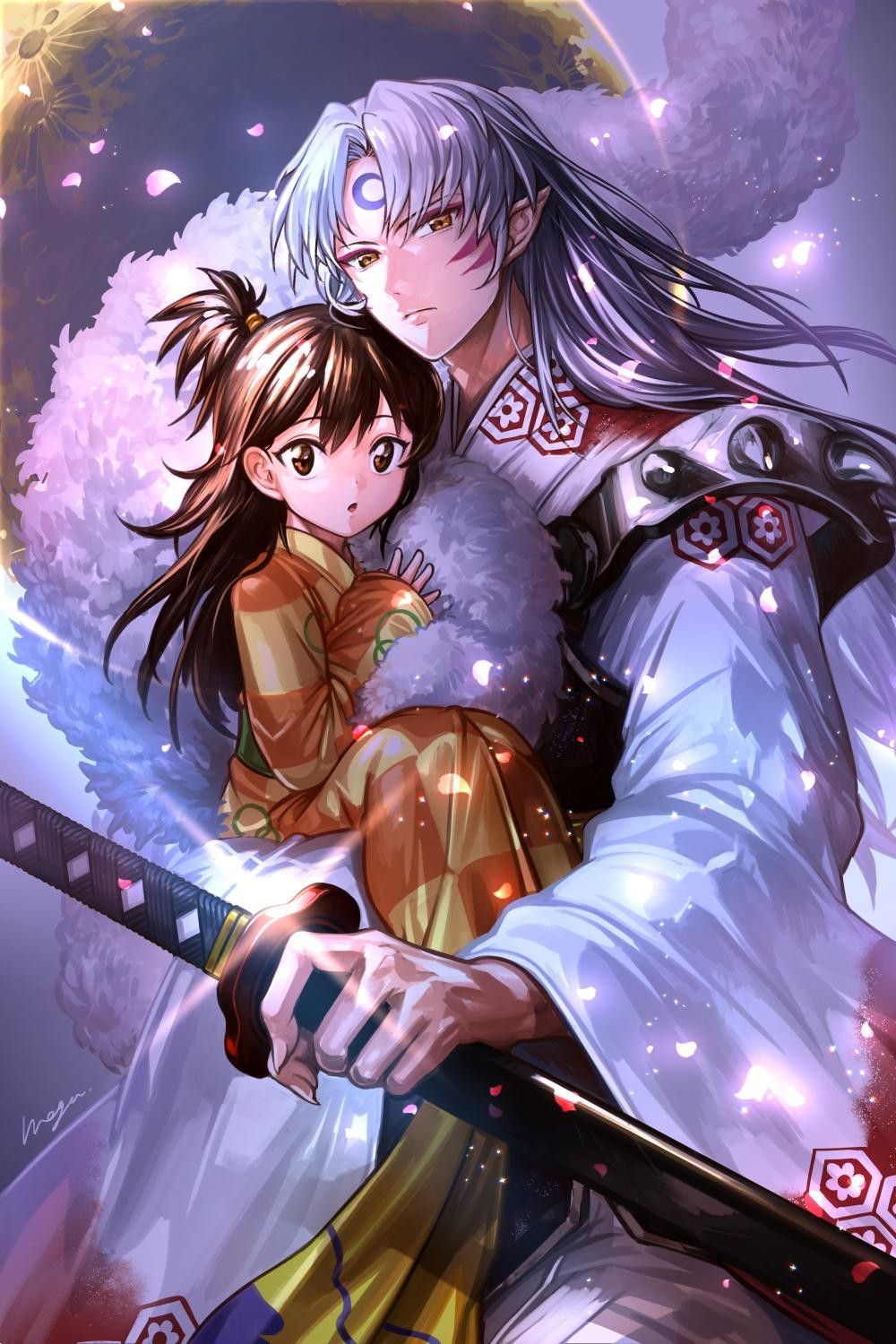 Sesshomaru and Rin Inuyasha. Credit to the artist on