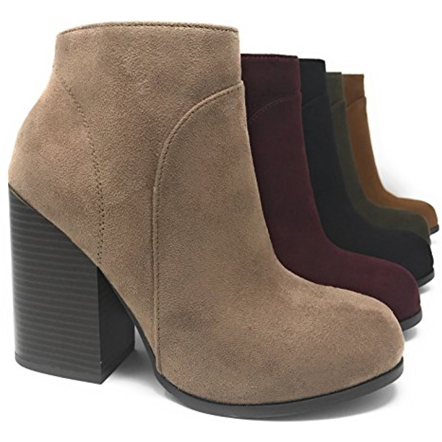Women's Shoe Faux Suede Stacked High Chunky Heel Ankle Boots