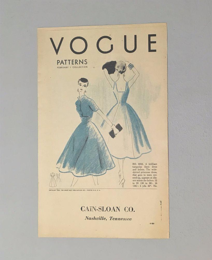 vogue pattern catalog paris bride dress cain sloan nashville tn 50s
