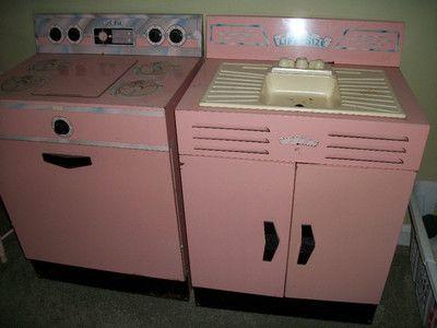 2 Pc 1960s Vintage Pink Metal Stove And Sink Childsize Vintage