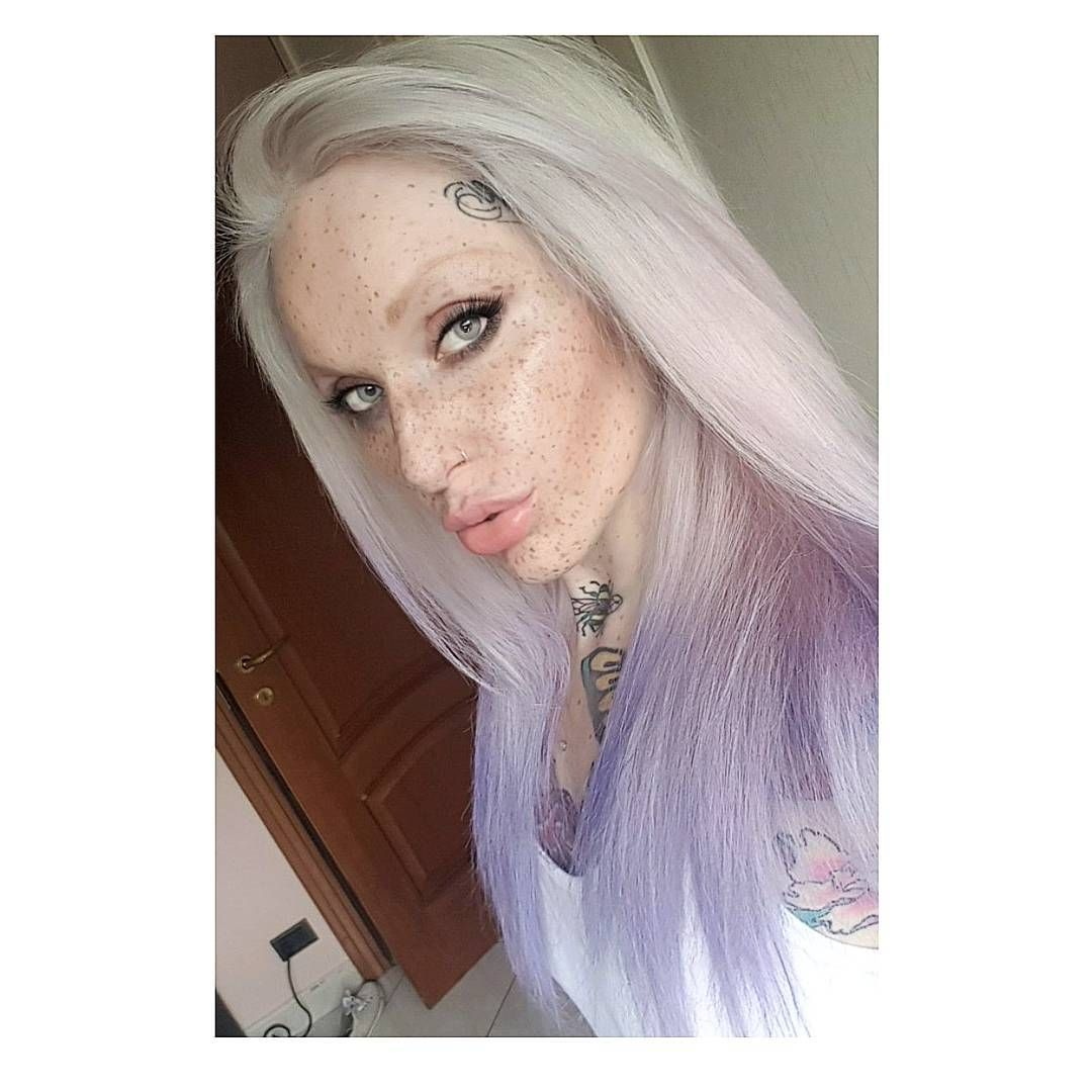 New color homemade whitehair baliage lavander tattoo