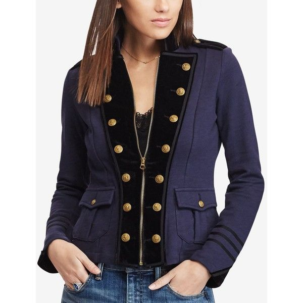 Denim & Supply Ralph Lauren Velvet-Trim Military Jacket (€61) ❤ liked on  Polyvore featuring outerwear, jackets, classic navy, blue field jacket, ...