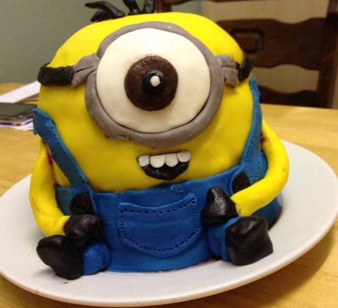 Minion Cake This was created using 2 round cake pans and 1 Lakeland