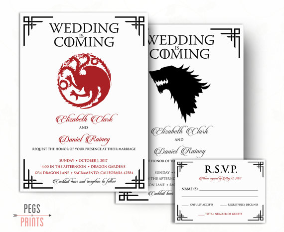 Dragon Wedding Invitation And RSVP Card Wolf By PegsPrints - Geeky wedding invitation templates