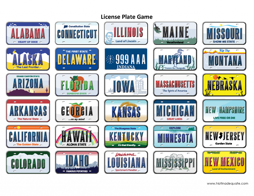 The License Plate Game With Pics Of The State License