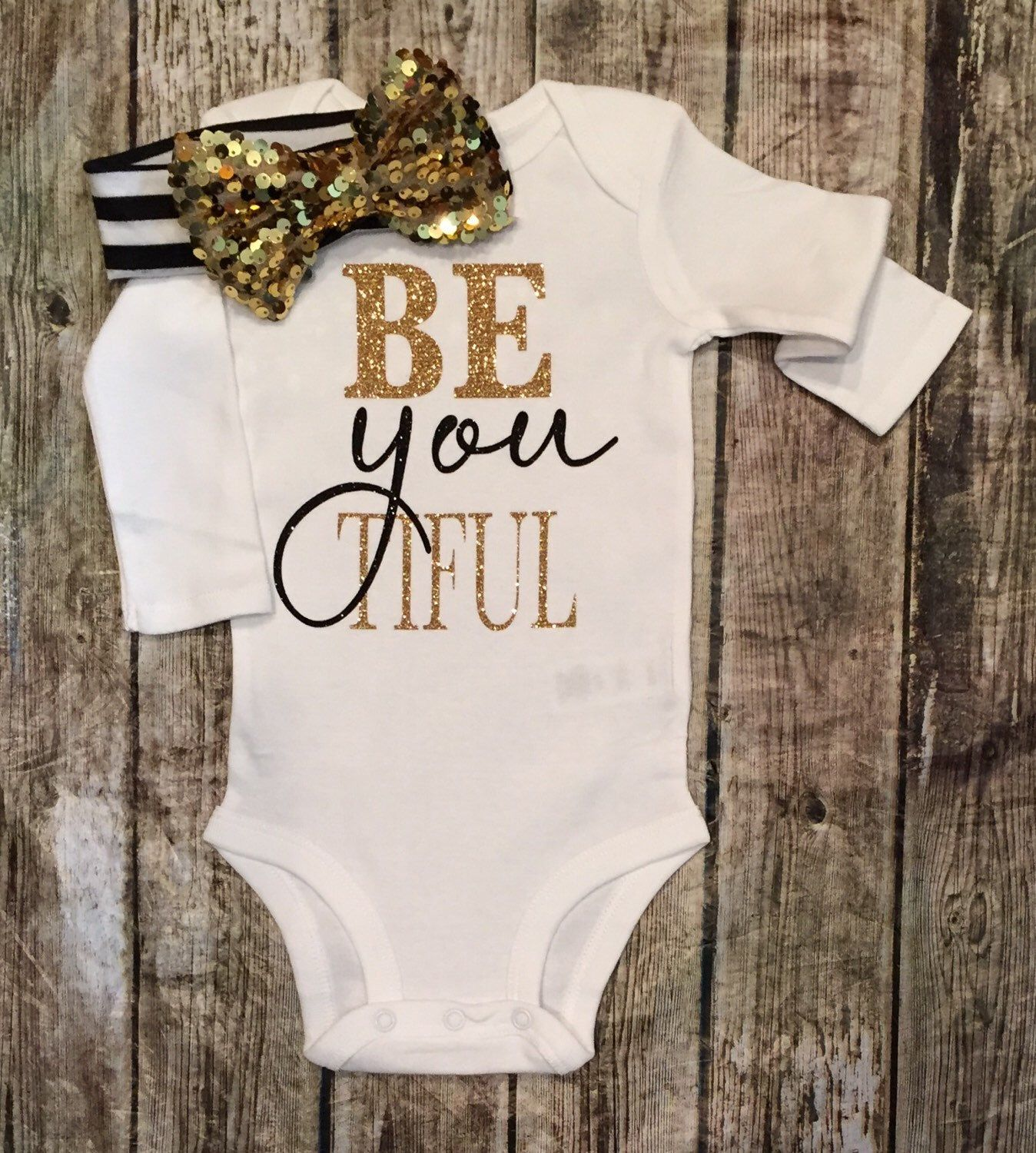 Beautiful Bodysuit Sparkle BE YOU TIFUL Baby Girl Clothes Baby Girl