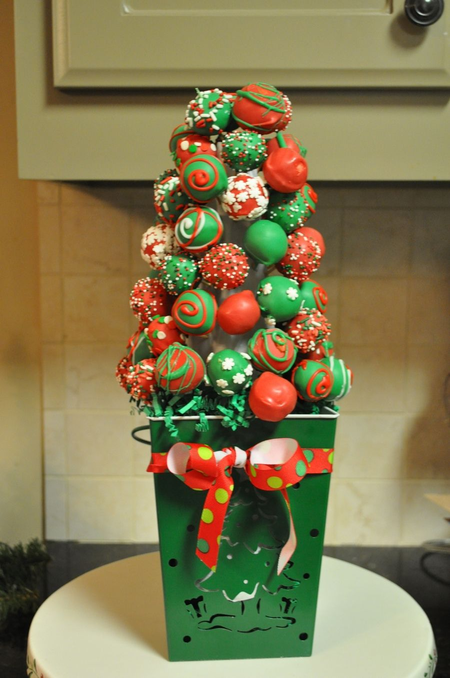 Cake Ball Christmas Tree My 1st attempt making a Cake Ball ...