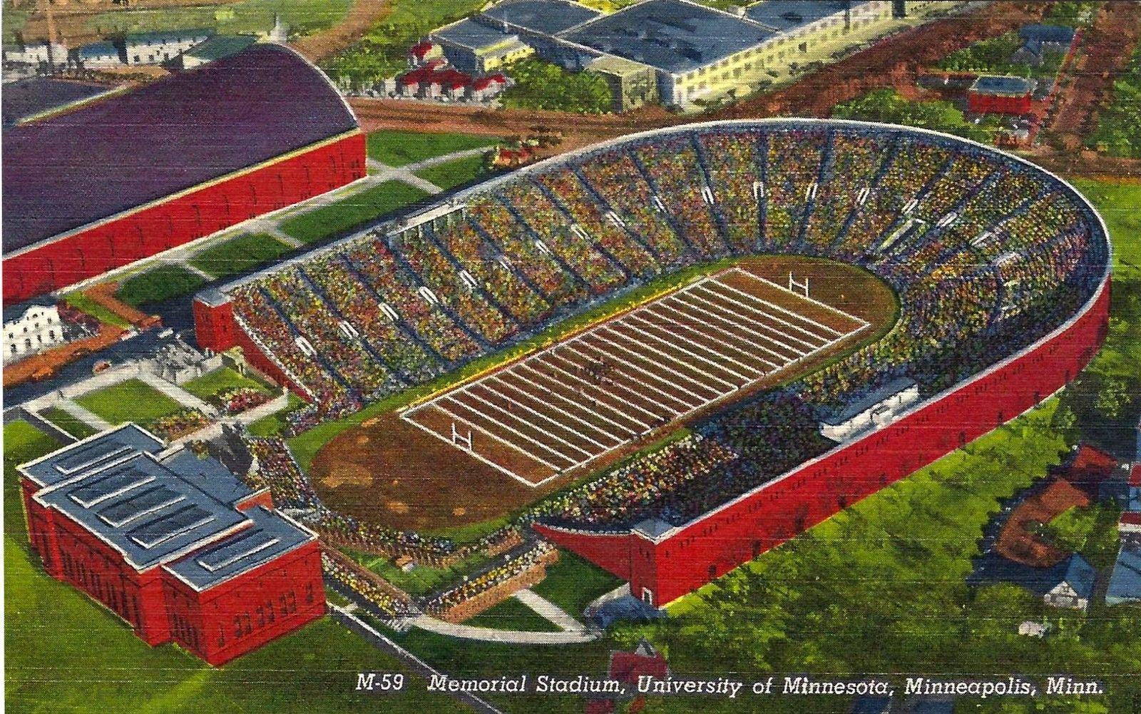 Postcard Of Memorial Stadium In Minnesota University Of