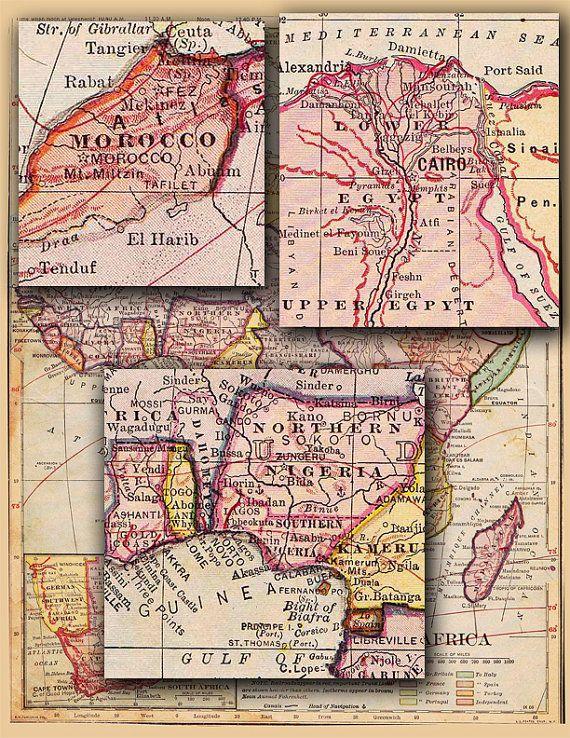 Map Of Africa Sahara Desert.Old Map Of Africa Eygpt Morocco Sahara Desert By Artdeco On Etsy